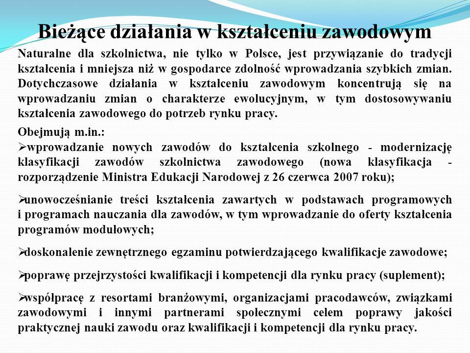 Bieżące działania w kształceniu zawodowym Naturalne dla szkolnictwa, nie tylko w Polsce, jest przywiązanie do tradycji kształcenia i mniejsza niż w go