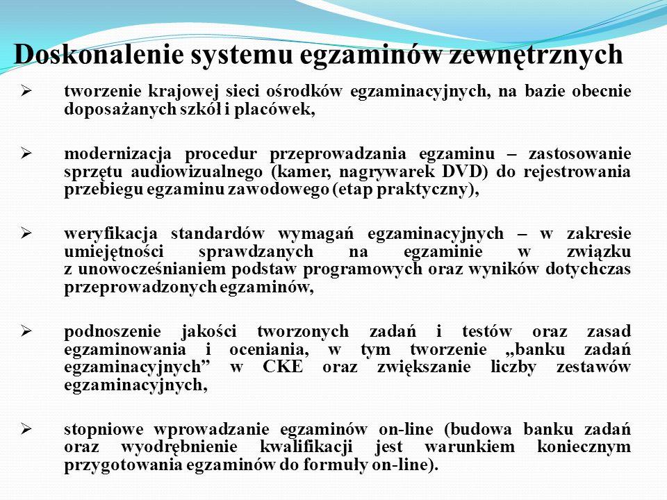 Doskonalenie systemu egzaminów zewnętrznych tworzenie krajowej sieci ośrodków egzaminacyjnych, na bazie obecnie doposażanych szkół i placówek, moderni