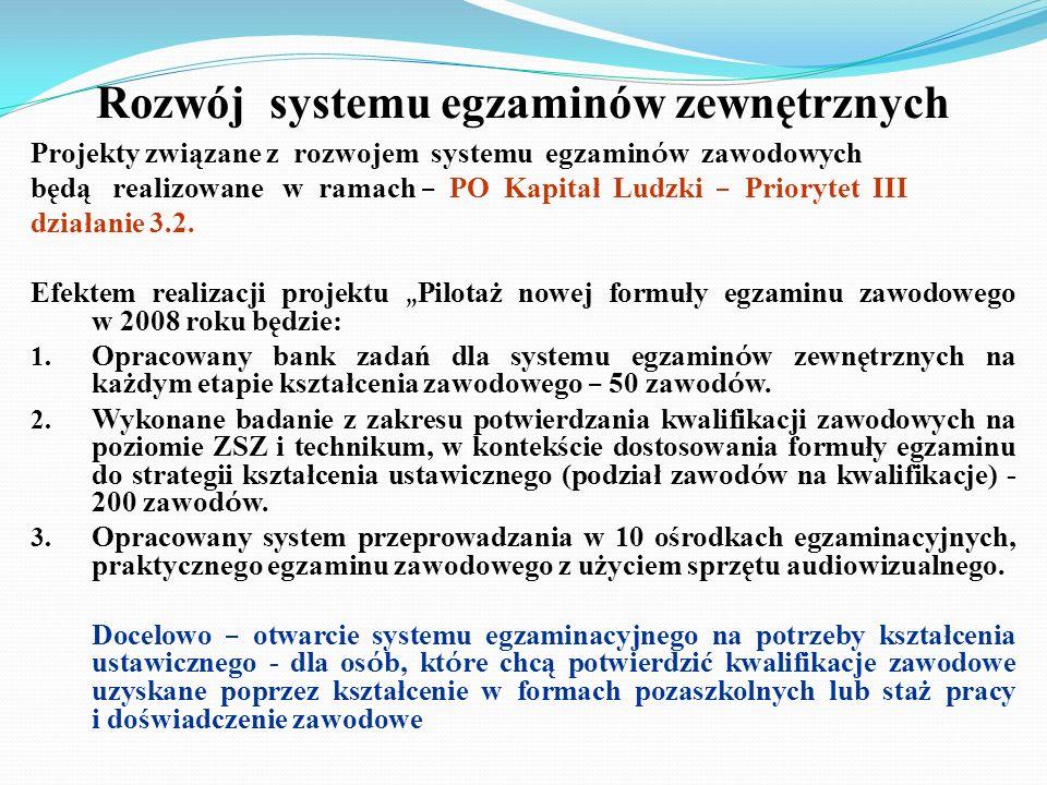 Rozwój systemu egzaminów zewnętrznych Projekty związane z rozwojem systemu egzamin ó w zawodowych będą realizowane w ramach – PO Kapitał Ludzki – Prio