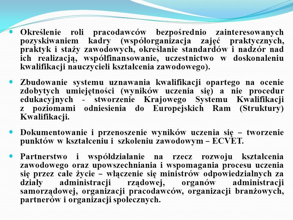 Określenie roli pracodawc ó w bezpośrednio zainteresowanych pozyskiwaniem kadry (wsp ó łorganizacja zajęć praktycznych, praktyk i staży zawodowych, ok