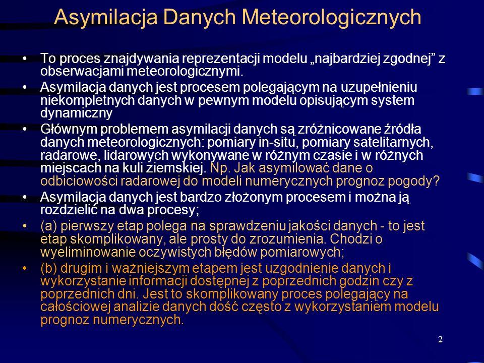 2 Asymilacja Danych Meteorologicznych To proces znajdywania reprezentacji modelu najbardziej zgodnej z obserwacjami meteorologicznymi. Asymilacja dany