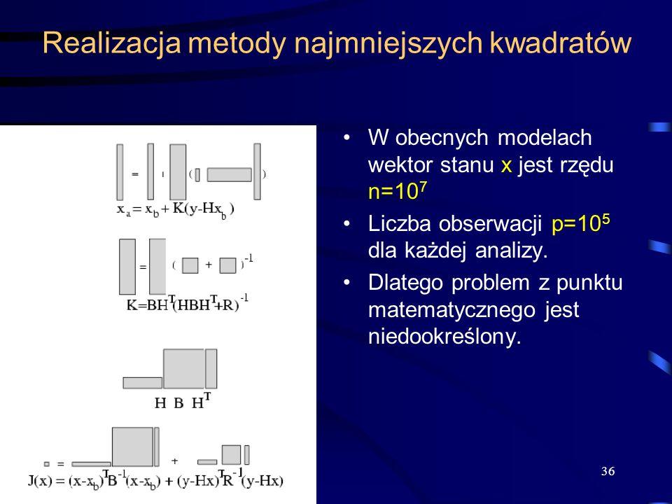 36 Realizacja metody najmniejszych kwadratów W obecnych modelach wektor stanu x jest rzędu n=10 7 Liczba obserwacji p=10 5 dla każdej analizy. Dlatego