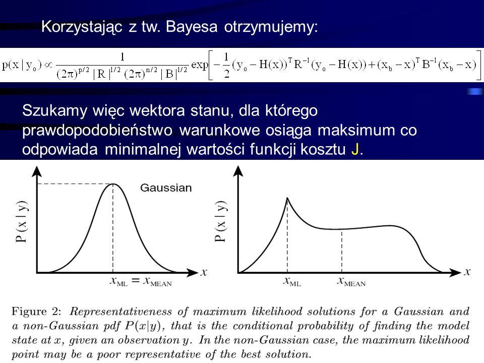 41 Korzystając z tw. Bayesa otrzymujemy: Szukamy więc wektora stanu, dla którego prawdopodobieństwo warunkowe osiąga maksimum co odpowiada minimalnej
