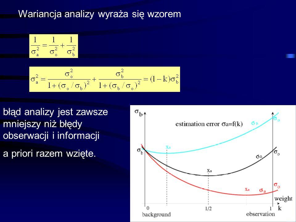 45 Wariancja analizy wyraża się wzorem błąd analizy jest zawsze mniejszy niż błędy obserwacji i informacji a priori razem wzięte.