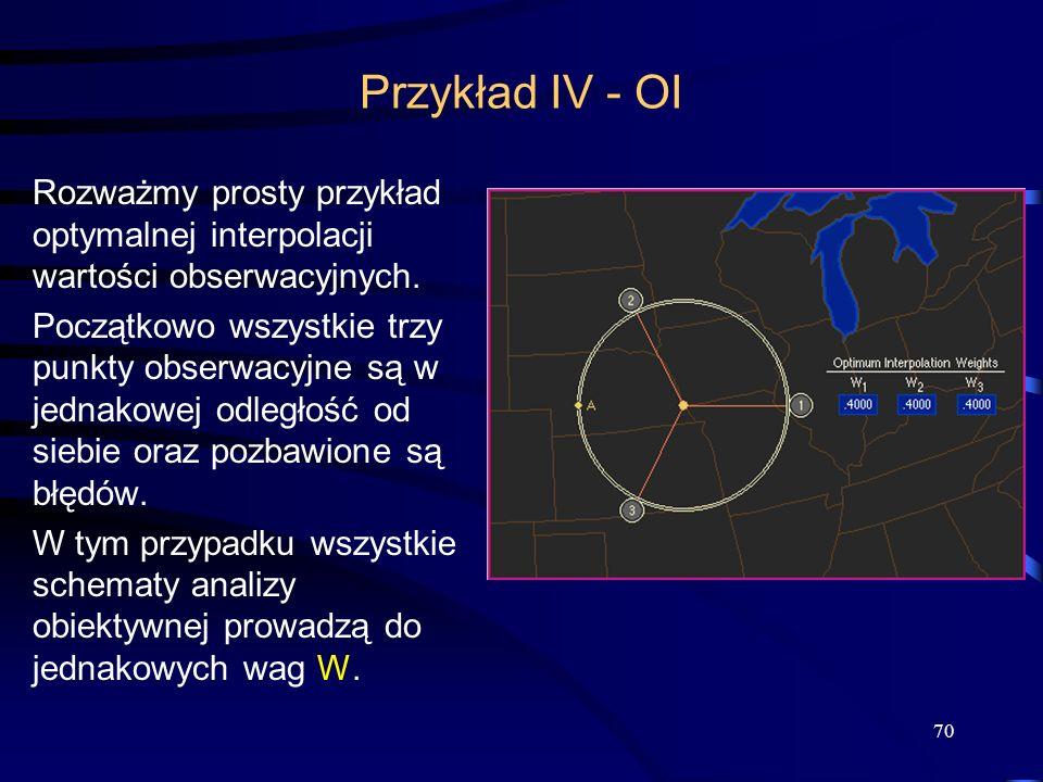 70 Przykład IV - OI Rozważmy prosty przykład optymalnej interpolacji wartości obserwacyjnych. Początkowo wszystkie trzy punkty obserwacyjne są w jedna