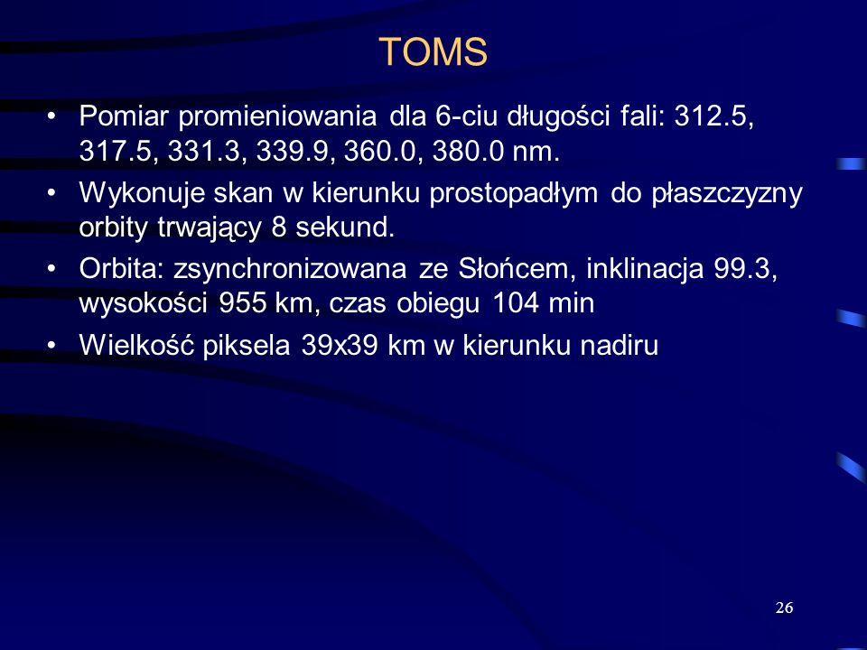 26 TOMS Pomiar promieniowania dla 6-ciu długości fali: 312.5, 317.5, 331.3, 339.9, 360.0, 380.0 nm. Wykonuje skan w kierunku prostopadłym do płaszczyz