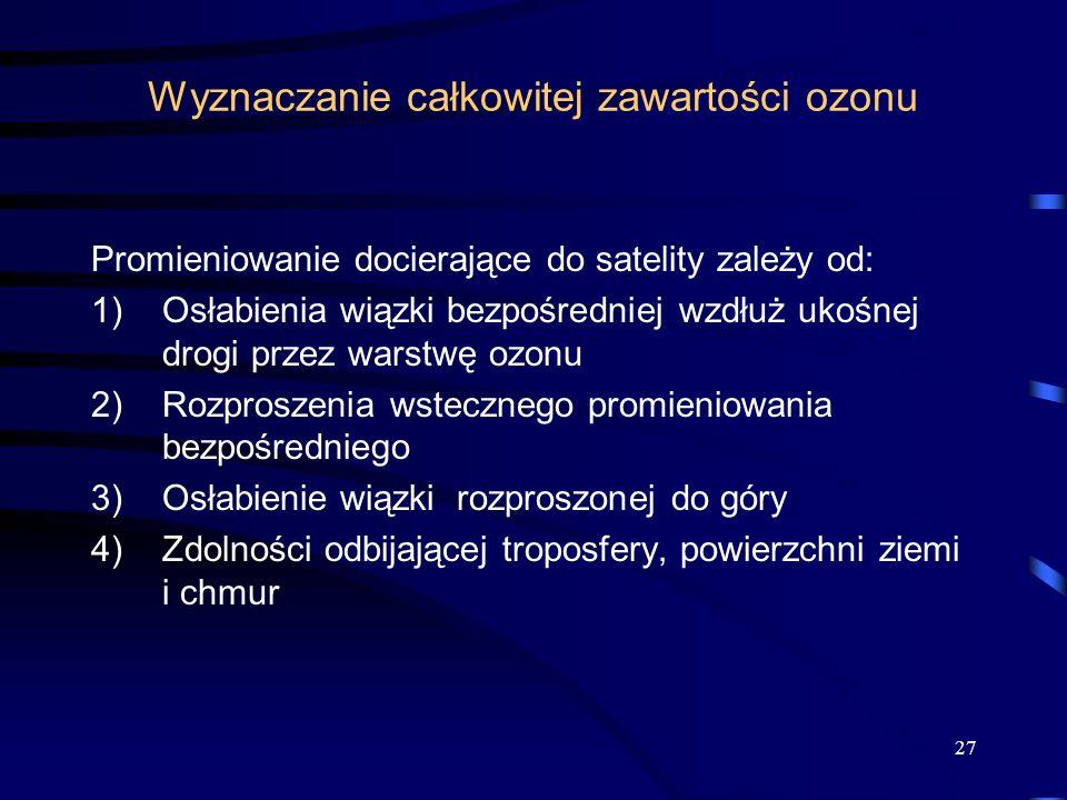 27 Wyznaczanie całkowitej zawartości ozonu Promieniowanie docierające do satelity zależy od: 1)Osłabienia wiązki bezpośredniej wzdłuż ukośnej drogi pr