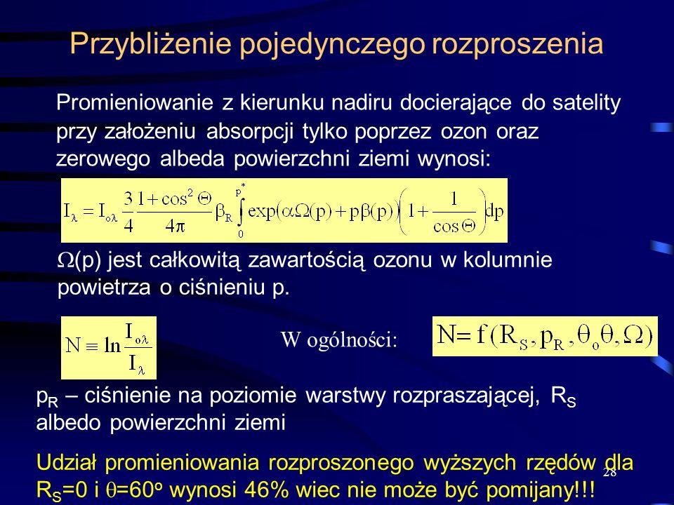 28 Przybliżenie pojedynczego rozproszenia Promieniowanie z kierunku nadiru docierające do satelity przy założeniu absorpcji tylko poprzez ozon oraz ze