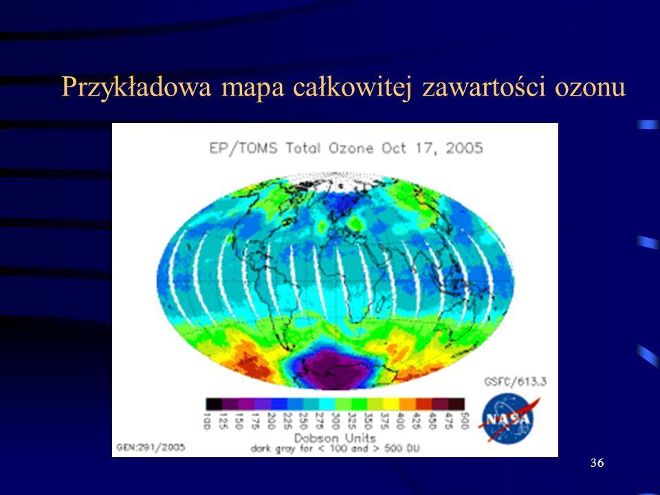 36 Przykładowa mapa całkowitej zawartości ozonu