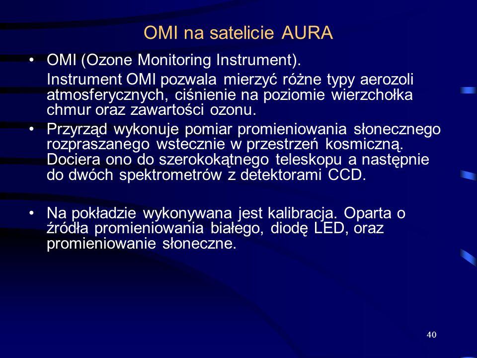 40 OMI na satelicie AURA OMI (Ozone Monitoring Instrument). Instrument OMI pozwala mierzyć różne typy aerozoli atmosferycznych, ciśnienie na poziomie