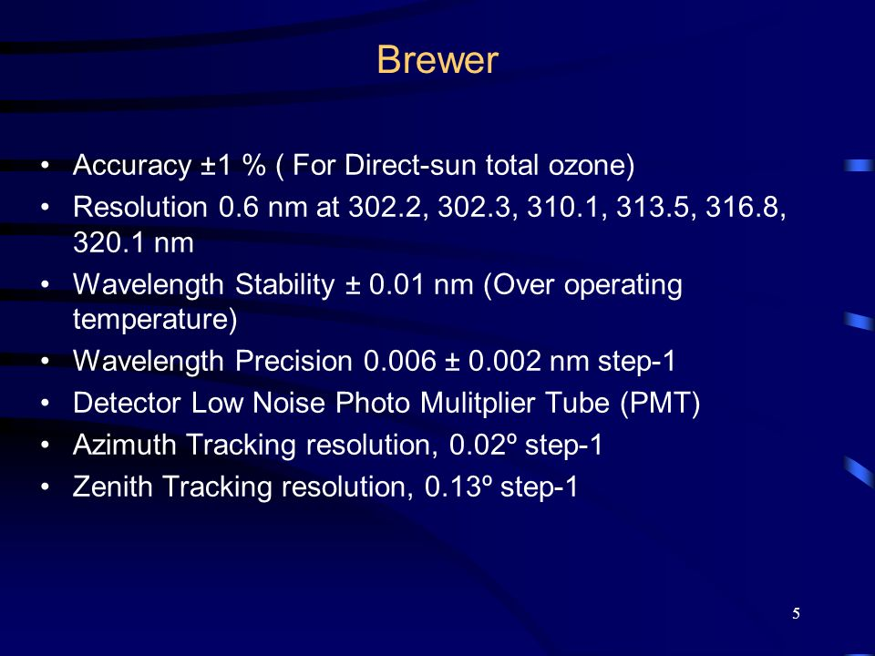 5 Brewer Accuracy ±1 % ( For Direct-sun total ozone) Resolution 0.6 nm at 302.2, 302.3, 310.1, 313.5, 316.8, 320.1 nm Wavelength Stability ± 0.01 nm (Over operating temperature) Wavelength Precision 0.006 ± 0.002 nm step-1 Detector Low Noise Photo Mulitplier Tube (PMT) Azimuth Tracking resolution, 0.02º step-1 Zenith Tracking resolution, 0.13º step-1