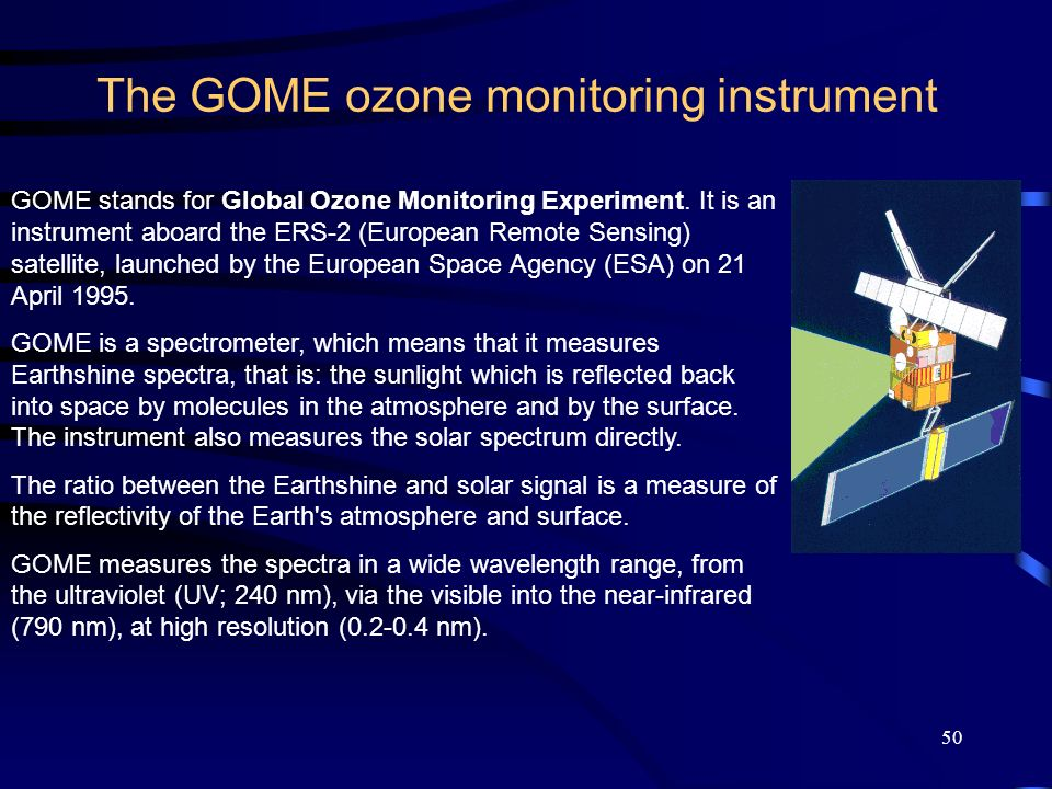 50 The GOME ozone monitoring instrument GOME stands for Global Ozone Monitoring Experiment.