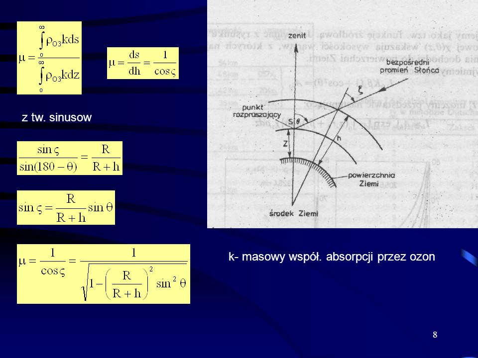 9 m 011 602.01.98 702.902.86 805.595.26 8510.318.51 9037.912.66 W celu wyznaczenia grubości optycznej ozonu wykorzystuje się pomiary na dwóch długościach fali dla których współczynniki absorpcji promieniowanie słonecznego są znacząco różne.