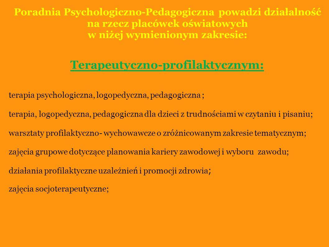 Poradnia Psychologiczno-Pedagogiczna powadzi działalność na rzecz placówek oświatowych w niżej wymienionym zakresie: Doradczym: indywidualne porady udzielane przez psychologów, pedagogów, logopedów i doradcę zawodowego; praca instruktażowa z dziećmi i rodzicami podczas terapii; udział w spotkaniach z rodzicami na terenie placówek oświatowych; wykłady, pogadanki, warsztaty dla rodziców i nauczycieli; udostępnianie materiałów metodycznych, literatury oraz opracowywanie ćwiczeń do pracy z dzieckiem w szkole i w domu; udzielanie informacji o zawodach, instytucjach kształcenia; udzielanie indywidualnych porad w zakresie wyboru szkoły i zawodu; wspomaganie rodzin w trudnych sytuacjach życiowych.
