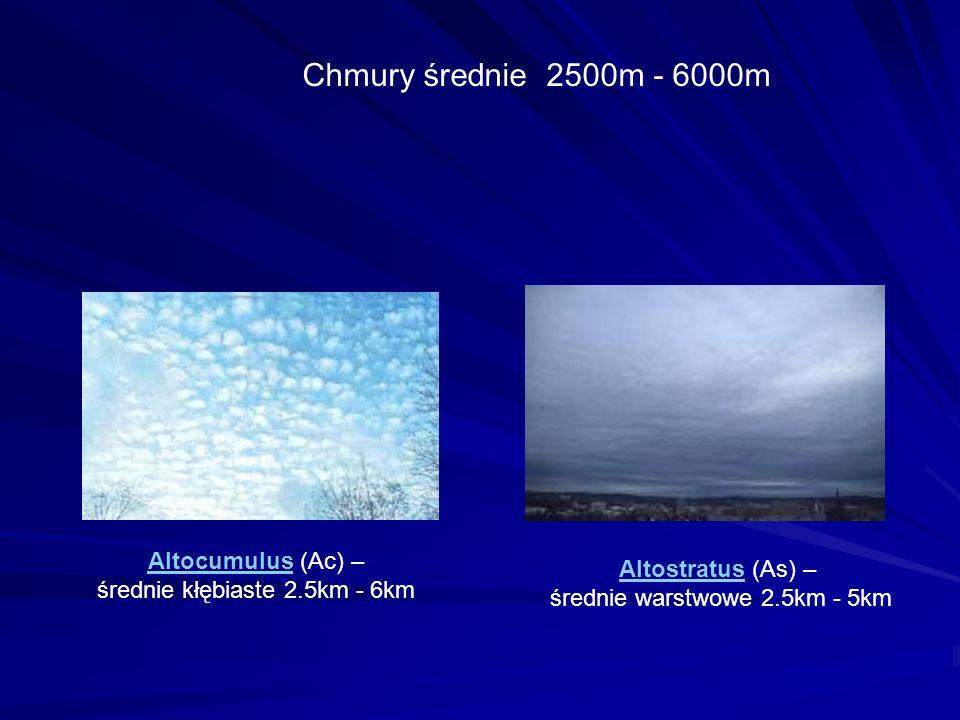 Chmury średnie 2500m - 6000m AltocumulusAltocumulus (Ac) – średnie kłębiaste 2.5km - 6km AltostratusAltostratus (As) – średnie warstwowe 2.5km - 5km