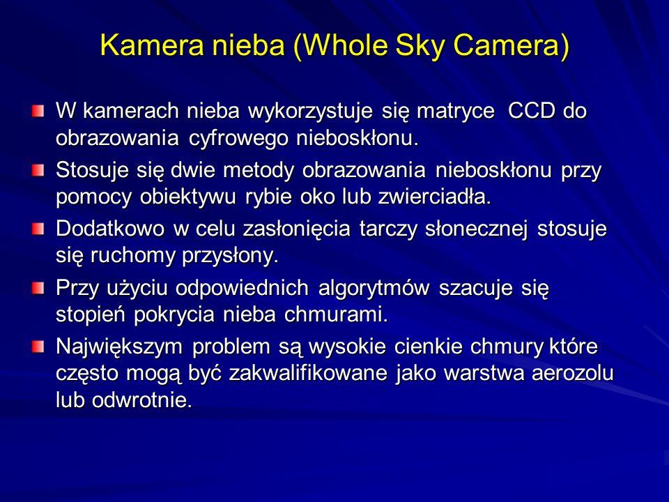 Kamera nieba (Whole Sky Camera) W kamerach nieba wykorzystuje się matryce CCD do obrazowania cyfrowego nieboskłonu. Stosuje się dwie metody obrazowani