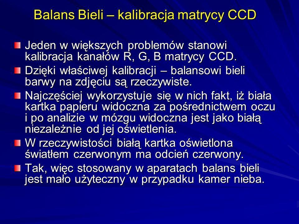 Balans Bieli – kalibracja matrycy CCD Jeden w większych problemów stanowi kalibracja kanałów R, G, B matrycy CCD. Dzięki właściwej kalibracji – balans