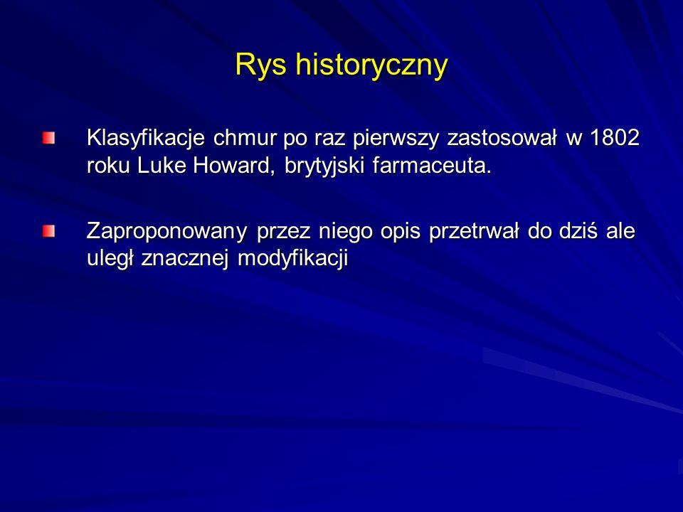 Rys historyczny Klasyfikacje chmur po raz pierwszy zastosował w 1802 roku Luke Howard, brytyjski farmaceuta. Zaproponowany przez niego opis przetrwał