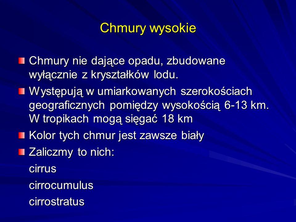 Cirrus (Ci) - pierzaste 6km - 13kmCirrus Chmury wysokie 6000m - 13000m Cirrocumulus (Cc) –Cirrocumulus pierzasto-kłębiaste 6km - 13km CirrostratusCirrostratus (Cs) – pierzasto-warstwowe 7km - 13km