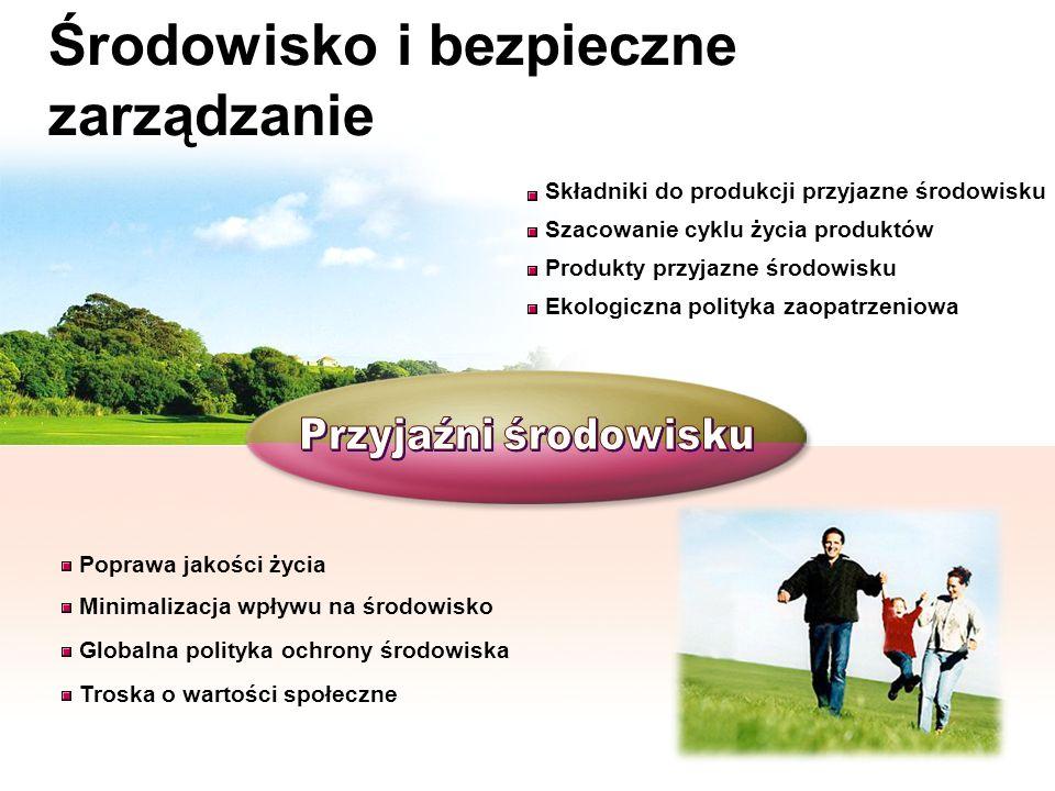 Składniki do produkcji przyjazne środowisku Ekologiczna polityka zaopatrzeniowa Produkty przyjazne środowisku Szacowanie cyklu życia produktów Środowi