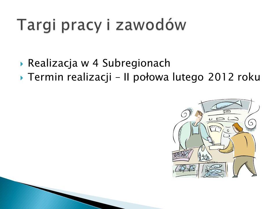 Realizacja w 4 Subregionach Termin realizacji – II połowa lutego 2012 roku