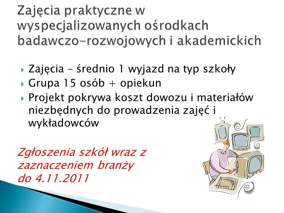 Zajęcia – średnio 1 wyjazd na typ szkoły Grupa 15 osób + opiekun Projekt pokrywa koszt dowozu i materiałów niezbędnych do prowadzenia zajęć i wykładowców Zgłoszenia szkół wraz z zaznaczeniem branży do 4.11.2011
