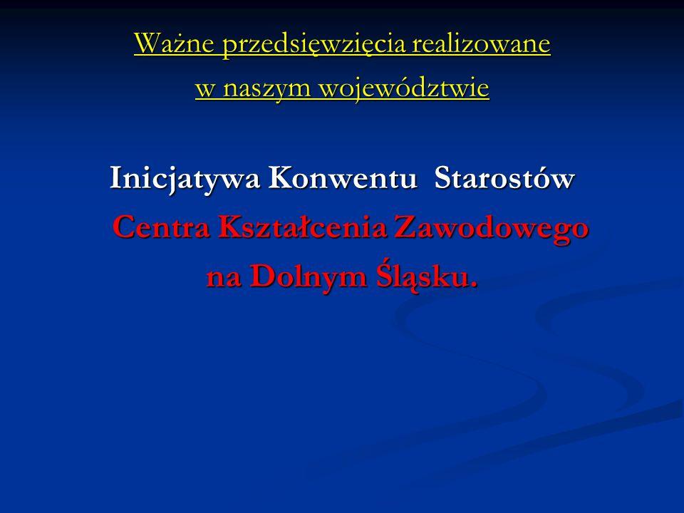 Ważne przedsięwzięcia realizowane w naszym województwie Inicjatywa Konwentu Starostów Centra Kształcenia Zawodowego Centra Kształcenia Zawodowego na Dolnym Śląsku.