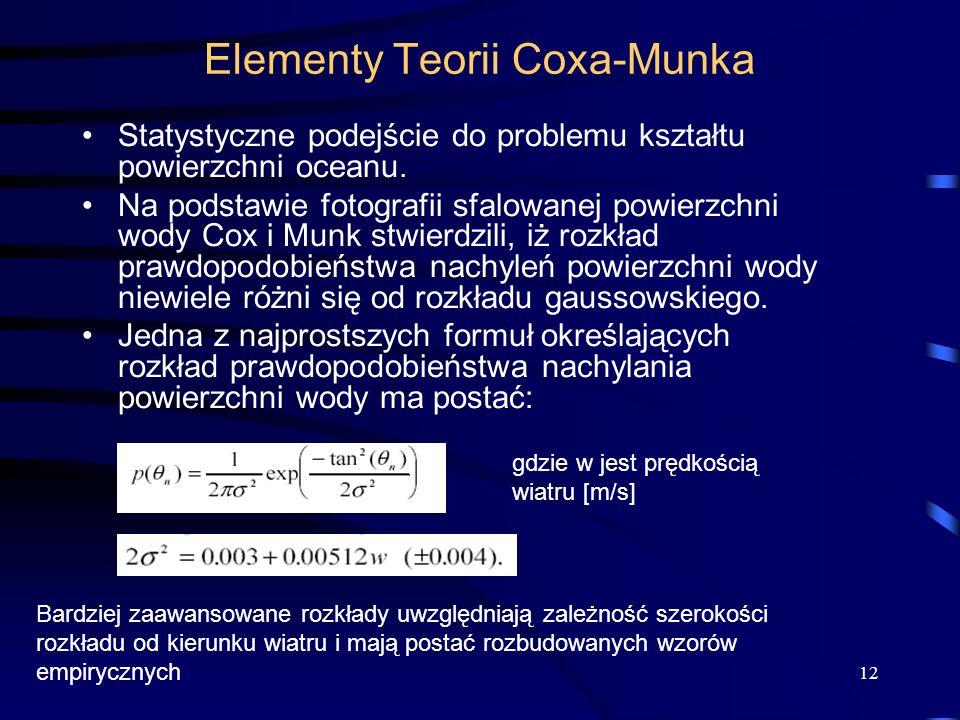 12 Elementy Teorii Coxa-Munka Statystyczne podejście do problemu kształtu powierzchni oceanu. Na podstawie fotografii sfalowanej powierzchni wody Cox