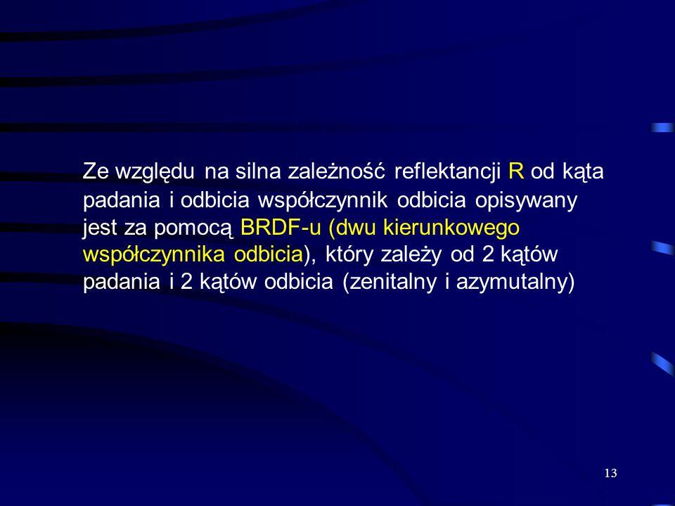 13 Ze względu na silna zależność reflektancji R od kąta padania i odbicia współczynnik odbicia opisywany jest za pomocą BRDF-u (dwu kierunkowego współ