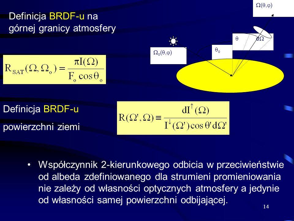 14 Współczynnik 2-kierunkowego odbicia w przeciwieństwie od albeda zdefiniowanego dla strumieni promieniowania nie zależy od własności optycznych atmo
