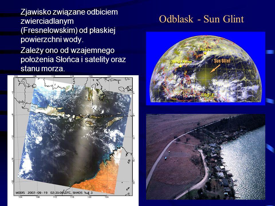 16 Odblask - Sun Glint Zjawisko związane odbiciem zwierciadlanym (Fresnelowskim) od płaskiej powierzchni wody. Zależy ono od wzajemnego położenia Słoń