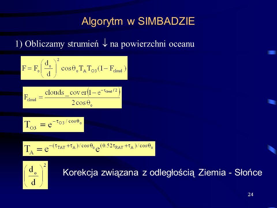 24 Algorytm w SIMBADZIE 1) Obliczamy strumień na powierzchni oceanu Korekcja związana z odległością Ziemia - Słońce