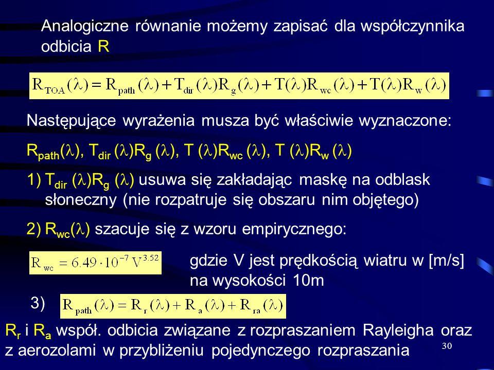 30 Analogiczne równanie możemy zapisać dla współczynnika odbicia R Następujące wyrażenia musza być właściwie wyznaczone: R path ( ), T dir ( )R g ( ),