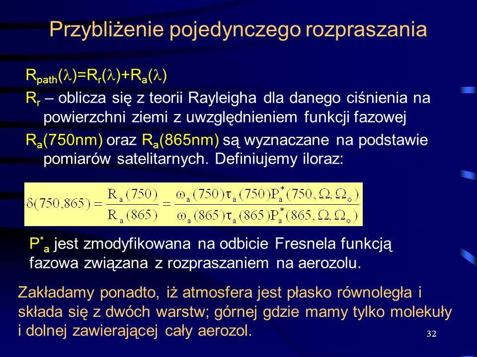 32 Przybliżenie pojedynczego rozpraszania R path ( )=R r ( )+R a ( ) R r – oblicza się z teorii Rayleigha dla danego ciśnienia na powierzchni ziemi z
