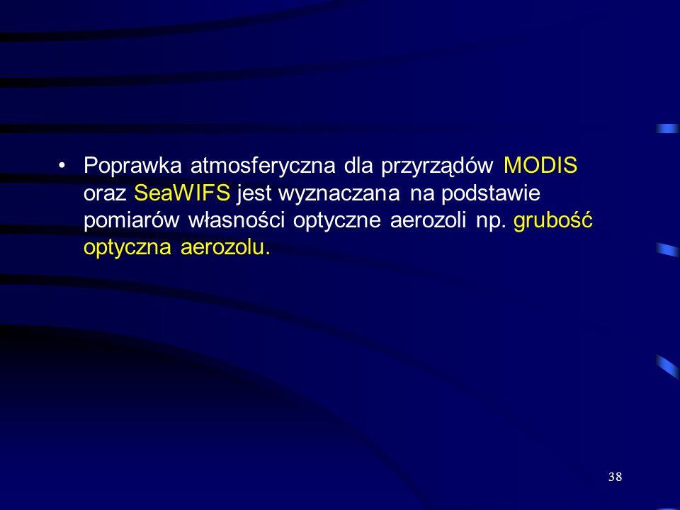 38 Poprawka atmosferyczna dla przyrządów MODIS oraz SeaWIFS jest wyznaczana na podstawie pomiarów własności optyczne aerozoli np. grubość optyczna aer
