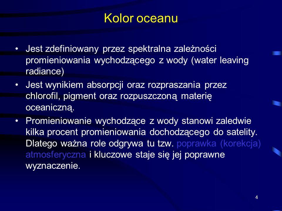 4 Kolor oceanu Jest zdefiniowany przez spektralna zależności promieniowania wychodzącego z wody (water leaving radiance) Jest wynikiem absorpcji oraz