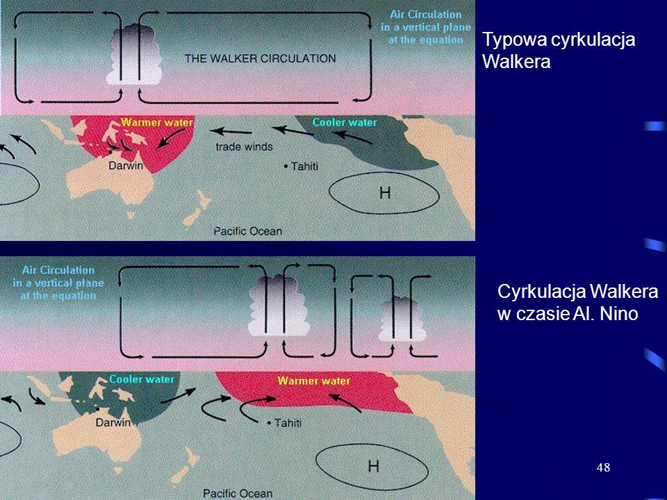 48 Typowa cyrkulacja Walkera Cyrkulacja Walkera w czasie Al. Nino