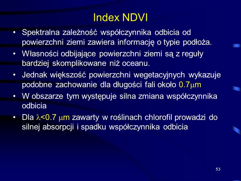 53 Index NDVI Spektralna zależność współczynnika odbicia od powierzchni ziemi zawiera informację o typie podłoża. Własności odbijające powierzchni zie