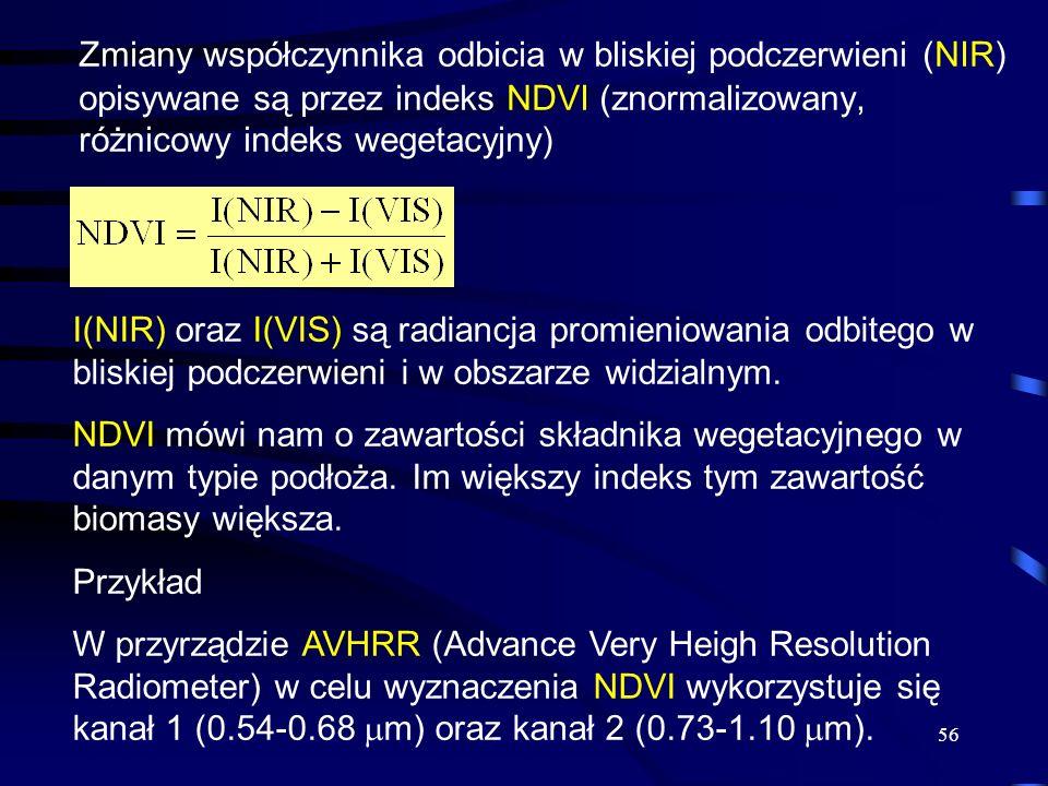 56 Zmiany współczynnika odbicia w bliskiej podczerwieni (NIR) opisywane są przez indeks NDVI (znormalizowany, różnicowy indeks wegetacyjny) I(NIR) ora
