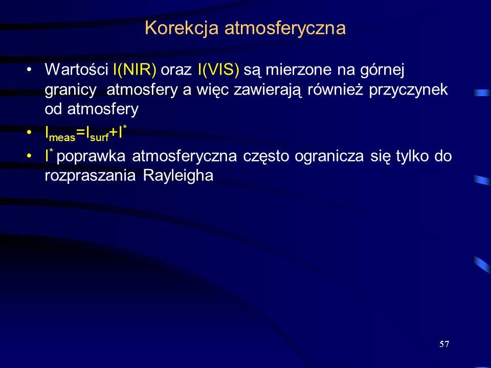 57 Korekcja atmosferyczna Wartości I(NIR) oraz I(VIS) są mierzone na górnej granicy atmosfery a więc zawierają również przyczynek od atmosfery I meas