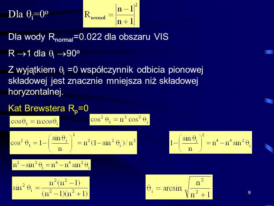 9 Dla i =0 o Dla wody R normal =0.022 dla obszaru VIS R 1 dla i 90 o Z wyjątkiem i =0 współczynnik odbicia pionowej składowej jest znacznie mniejsza n