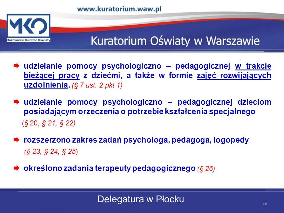 udzielanie pomocy psychologiczno – pedagogicznej w trakcie bieżącej pracy z dziećmi, a także w formie zajęć rozwijających uzdolnienia, (§ 7 ust.