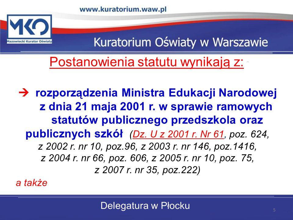 Postanowienia statutu wynikają z: rozporządzenia Ministra Edukacji Narodowej z dnia 21 maja 2001 r.