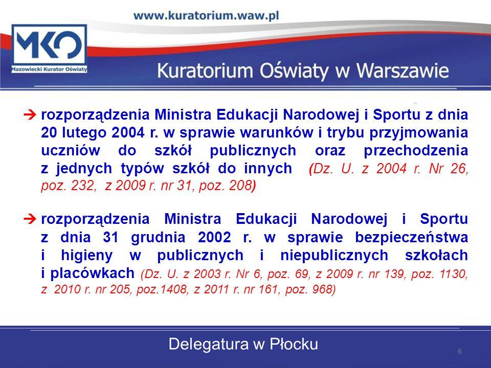 rozporządzenia Ministra Edukacji Narodowej i Sportu z dnia 20 lutego 2004 r.