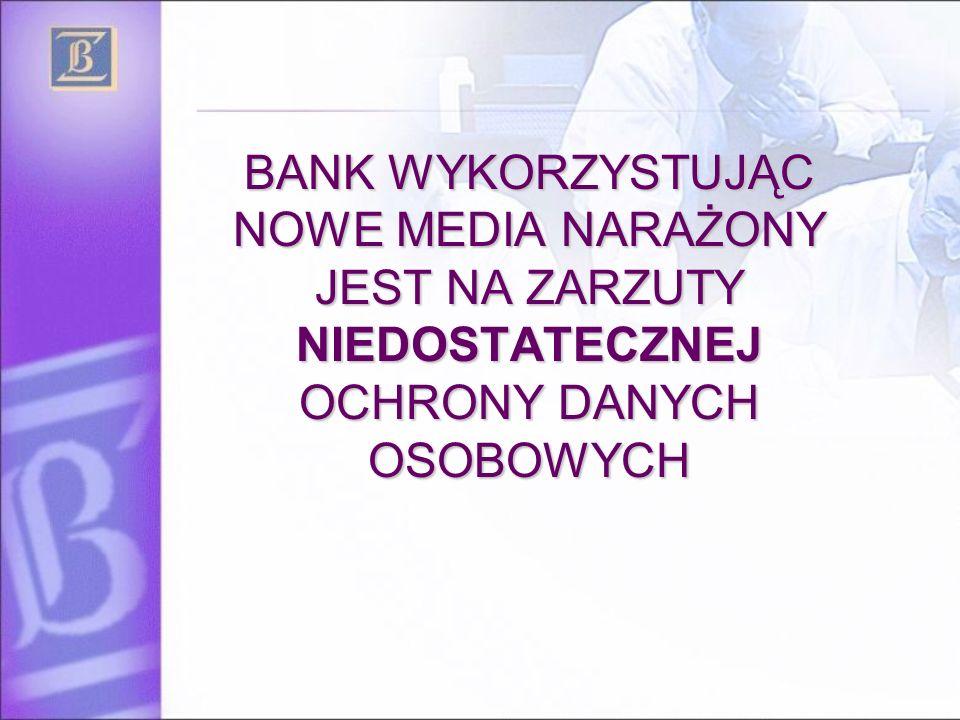 BANK WYKORZYSTUJĄC NOWE MEDIA NARAŻONY JEST NA ZARZUTY NIEDOSTATECZNEJ OCHRONY DANYCH OSOBOWYCH