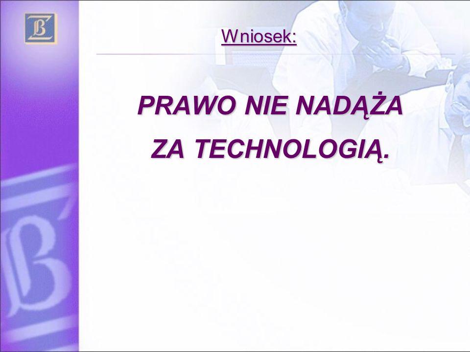 Wniosek: PRAWO NIE NADĄŻA ZA TECHNOLOGIĄ.