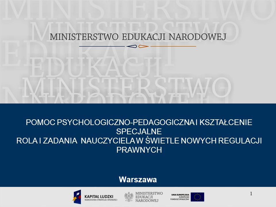 1 Warszawa POMOC PSYCHOLOGICZNO-PEDAGOGICZNA I KSZTAŁCENIE SPECJALNE ROLA I ZADANIA NAUCZYCIELA W ŚWIETLE NOWYCH REGULACJI PRAWNYCH 1