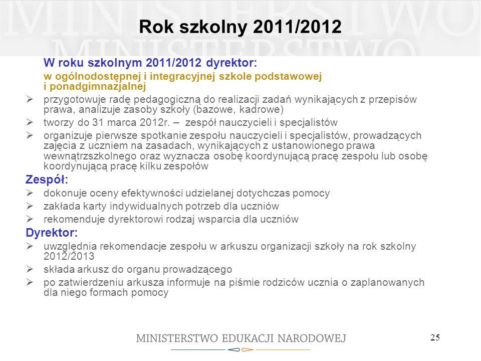 Rok szkolny 2011/2012 W roku szkolnym 2011/2012 dyrektor: w ogólnodostępnej i integracyjnej szkole podstawowej i ponadgimnazjalnej przygotowuje radę p
