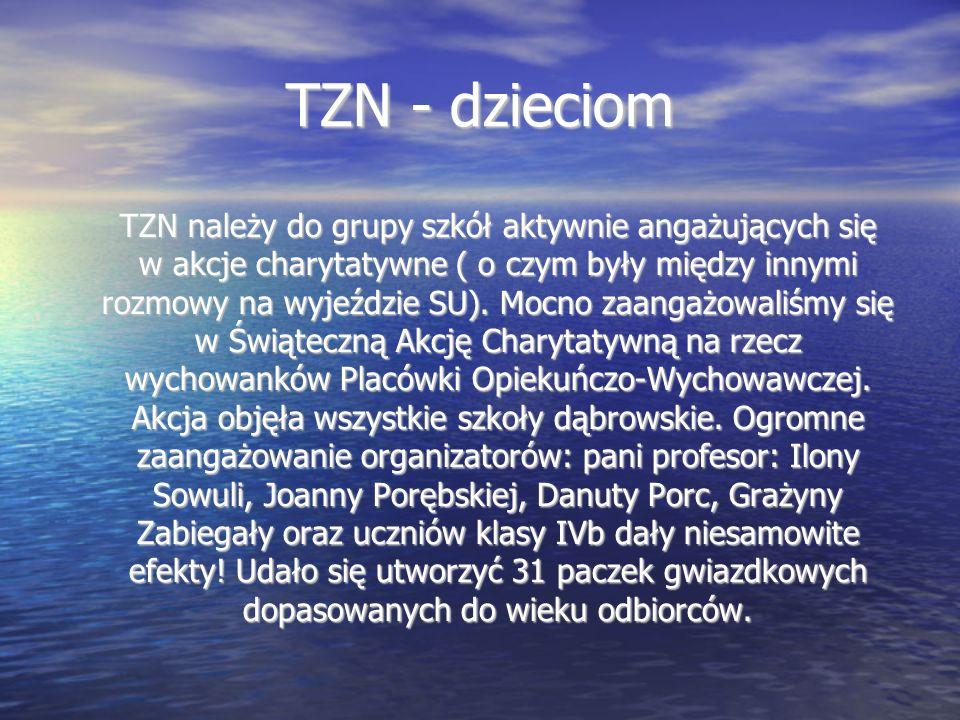 TZN - dzieciom TZN należy do grupy szkół aktywnie angażujących się w akcje charytatywne ( o czym były między innymi rozmowy na wyjeździe SU).