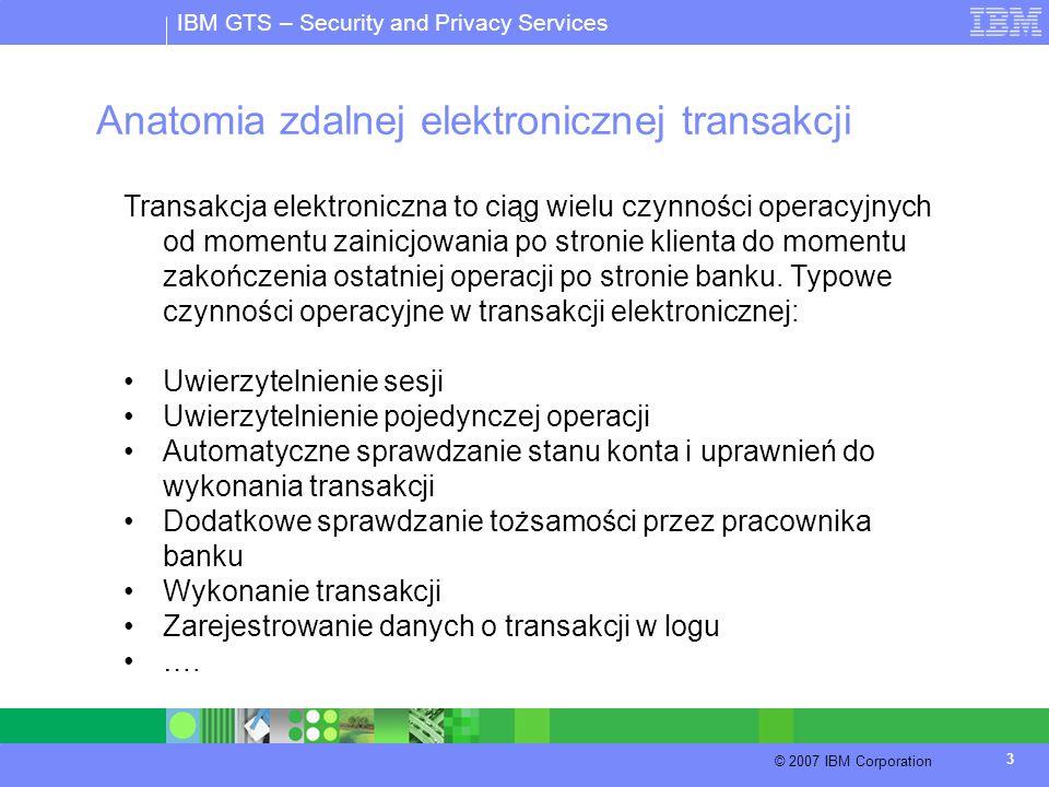IBM GTS – Security and Privacy Services © 2007 IBM Corporation 3 Anatomia zdalnej elektronicznej transakcji Transakcja elektroniczna to ciąg wielu czy